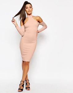 NaaNaa   Naanaa Midi Dress with Cut Out Shoulder and Lace Up back at ASOS