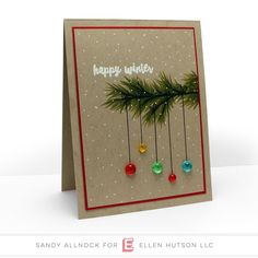 holiday cards Colored Light Droplets, Essentials by Ellen Embellishments - Christmas Card Crafts, Homemade Christmas Cards, Christmas Cards To Make, Homemade Cards, Handmade Christmas, Christmas Wreaths, Christmas Decorations, Christmas Projects, Simple Christmas