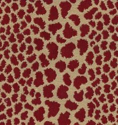 Red leopard or cheetah print fabric from PKaufmann. Pattern Sheenah in color Tobasco is a heavy upholstery fabric with great durability. Perfect for adding spice and fun to any of your home projects. Cover furniture, chair seats, an ottoman or a headboard