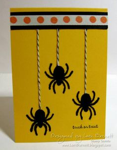 FUN spider card - I could give my Fiskars spider squeeze punch a workout and use some pretty ribbons too :) A Muse Studio Fuzzy Spiders by versamom - Cards and Paper Crafts at Splitcoaststampers