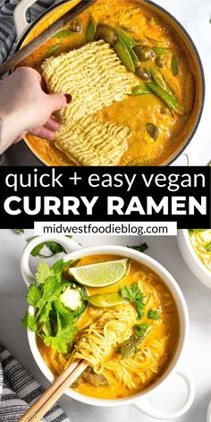 Easy Vegan Ramen Noodles - - Can you believe 20 minutes is all it takes to get this healthy, vegan dinner on the table? Loaded with fresh veggies and rich curry flavors, you'll feel good about serving this meal to your family! Ramen Vegan, Easy Vegan Curry, Healthy Ramen, Ramen Food, Vegan Chickpea Curry, Vegan Lentil Soup, Healthy Soups, Veggie Recipes, Indian Food Recipes