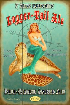 "Vintage style retro pinup original artwork.  Beach pics.  Beach house decor.  Mermaids and Sea Turtles.  Bathing beauty.  Upscale coastal.  ""LoggerTail Ale"" BrendanCoudal.com $75.00"