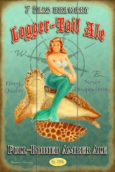 "Vintage style retro pinup original artwork.  Beach pics.  Beach house decor.  Mermaids and Sea Turtles.  Bathing beauty.  Upscale coastal.  ""LoggerTail Ale"" BrendanCoudal.com $75.00"
