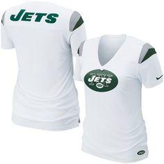 Nike New York Jets Ladies Fashion Football Premium T-Shirt - White - 2XL #Nike #NewYorkJets