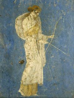 Diana the huntress, fresco from cubiculum of the Villa of Ariadne, Stabiae. Museo Archeologico Nazionale, Naples