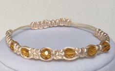Gold Crystals and Satin Cream Cord Macrame Bracelets, Stackable Bracelet, Adjustable Bracelet, Friendship Bracelet, Pretty, Item 474126766 by CreationsByLacieK on Etsy