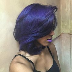 Dark purple feathered hair