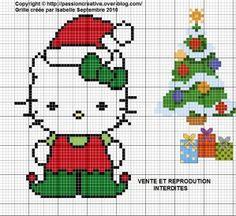 Grille gratuite point de croix : Hello Kitty en lutin de Noel