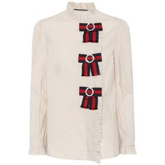 Cotton blouse Gucci (4.085 RON) ❤ liked on Polyvore featuring tops, blouses, gucci blouse, pink blouse, evening blouses, special occasion blouses and embellished top