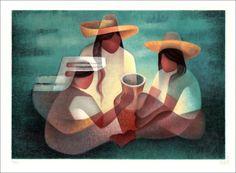 """TOFFOLI Louis - Lithographie Originale """"Conversation"""" 56x76cm - 1998"""