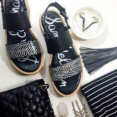 "Sam Edelman Black and White Flatform Sandals Details: • Size 8.5 • Leather and woven material • Cork platform • Buckle closure • 1"" platform and 1.25"" heel • Brand new in box  02161621 Sam Edelman Shoes Sandals"