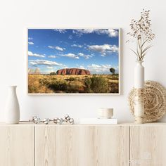 This picture shows the Uluru (Ayers Rock) in the red center of Australia during the midday sun. A magical place vibrating with ancient history and letting you feel the power of Australia. Photography Pricing, Framing Photography, Landscape Photography, Nature Photography, Australia Landscape, Ayers Rock, Crystal Clear Water, Beach Print, Landscape Prints