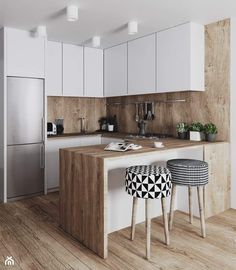 Kitchen Room Design, Home Room Design, Kitchen Cabinet Design, Modern Kitchen Design, Home Decor Kitchen, Interior Design Kitchen, Home Kitchens, Small Modern Kitchens, Modern Kitchen Interiors