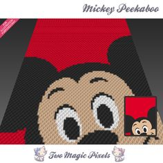 Mickey Peekaboo crochet blanket pattern; c2c, cross stitch; graph; pdf download; no written counts or row-by-row instructions by TwoMagicPixels, $3.99 USD