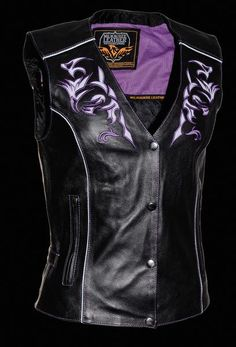 Women's Vest w/ Reflective Tribal Design & Piping Butter Soft Cowhide 1.0-1.1mm Two Lower Zippered Hand Pockets w/ Side Tab Snap Embroidered Reflective Ches