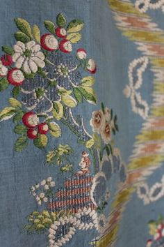 Eighteenth-century silk patterns were primarily floral. Lyon silk manufactures  regularly sent their designers to Paris to meet with artists specializing in flower painting,  and to visit the botanical gardens…