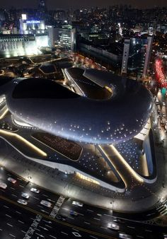 Dongdaemun Design Plaza (DDP) @ Seoul, South Korea (this is where fashion week happens, but there's also a fantastic design museum during the day - if anything just walk around outside to take pictures and enjoy the outdoor art)