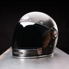 Bell Bullitt Helmet Carbon Matte Black Side View with Clear Bubble Shield