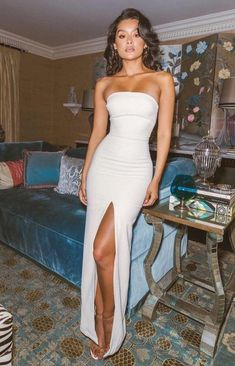 evening Dresses, Party prom dress with slit ,white prom dress - PROM - kleid Pretty Dresses, Sexy Dresses, Beautiful Dresses, White Prom Dresses, Fitted Dresses, White Evening Dresses, White Mermaid Prom Dress, Prom Dresses With Slits, Long Tight Prom Dresses