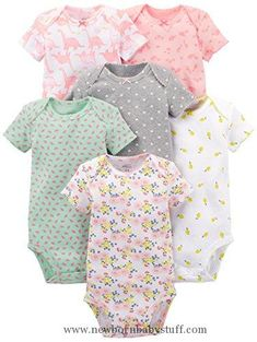 Baby Girl Clothes Simple Joys by Carter's Girls' 6-Pack Short-Sleeve Bodysuit, Pink Dino, Floral, Mint, White, Gray, 18 Months