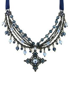 Antiquities Couture  Gothic Multi Chain Necklace In Gunmetal & Blue  $95.00
