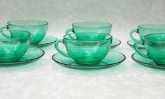 Coffee Espresso Cups, Arcoroc Green Glass, Six Piece Set, French Glass, Espresso Set,   1960s