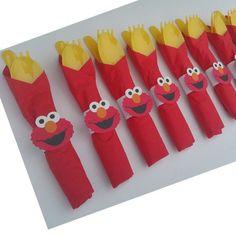 10 Elmo Party Cutlery Elmo Birthday Sesame Street by HelloFaith Elmo First Birthday, Boy Birthday Parties, Birthday Ideas, Elmo Party Decorations, Elmo Party Favors, Halloween Decorations, Elmo And Cookie Monster, Sesame Street Party, Sesame Street Birthday Party Ideas