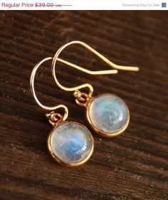 SALE Petite Rainbow Moonstone Earrings  14KT gold fill by OhKuol, $33.15