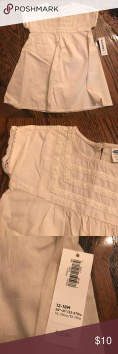 NWT Lace-trim Dress! (with diaper cover) Lightweight cream dress with diaper cover, NWT Old Navy Dresses Casual