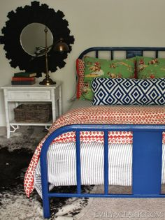 painted metal bed