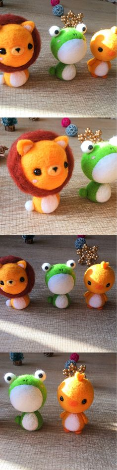 Handmade Needle felted felting kit project Animals cute for beginners starters