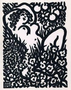 "Pierre Antoine Gallien (Grenoble 1896-1963 Mont Rouge) French modernist woodcut artist. ""painter of the black line"""