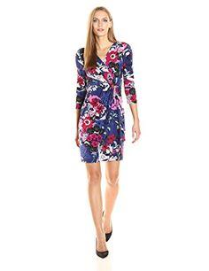 Adrianna Papell Women's 3/4 Slv Drape Frt Wrap Dress - Printed Wrap dress