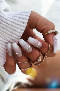30 Wow Wedding Nail Ideas ❤ nail ideas original geometry nail design with silver rhinestones ewuleeek Are you dreaming about the perfect bridal look? Don't forget to choose cool design for your nails. You will find in our gallery cute wedding nail ideas. Bride Nails, Wedding Nails For Bride, Wedding Nails Design, Nail Wedding, Weding Nails, Bridal Nail Art, Stylish Nails, Trendy Nails, Cute Nails