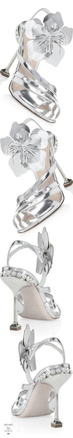 Miu Miu Metallic Leather Ankle-Strap Sandals #weddingshoes