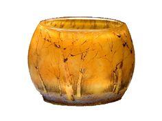 Nr.: 153, Te koop aangeboden glaskunst van Daum Nancy, Omschrijving: Glas Vaas, Hoog 4,6 cm Breed 5,6 cm, Periode: Onbekend, Winter landschap,