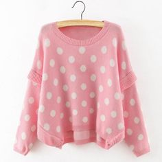 Cute Round Neck Polka Dot Pattern Long Sleeve Sweater For Women