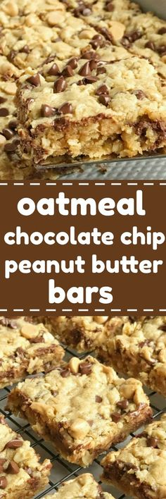 Oatmeal chocolate chip peanut butter bars are a family favorite dessert recipe that everyone loves. Soft cookie bars loaded with oatmeal, peanut butter, peanut butter chips, and chocolate chips. These are a peanut butter & chocolate lovers dream and they come together quickly   togetherasfamily.com