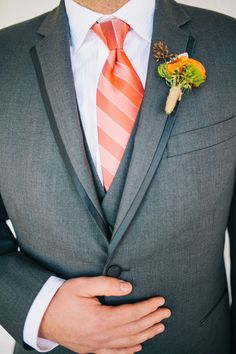 Charcoal Three Piece Suit with Orange Accents | Lisa Mallory Photography | See More! http://heyweddinglady.com/autumn-harvest-wedding-at-san...