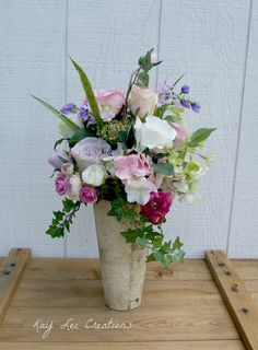 Country Romance Silk Flower Rose Garden Birch Vase Wedding Centerpieces  #KLCBrand