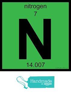 N Nitrogen Art Tile Print Of Periodic Table Elements From Joel Anderson Https