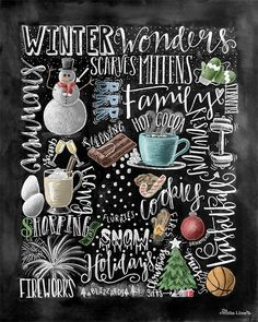 •The Listing • ~Winter Wonders~ This print features my hand drawn chalkboard art showcasing various winter words and illustrations. I hand drew the