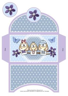 Mum Owls Money Wallet on Craftsuprint designed by Janet Roberts - This cute… Paper Box Template, Cute Envelopes, Owl Birthday Parties, Printable Box, Paper Owls, Gift Envelope, Money Cards, Shaped Cards, Christmas Cards To Make