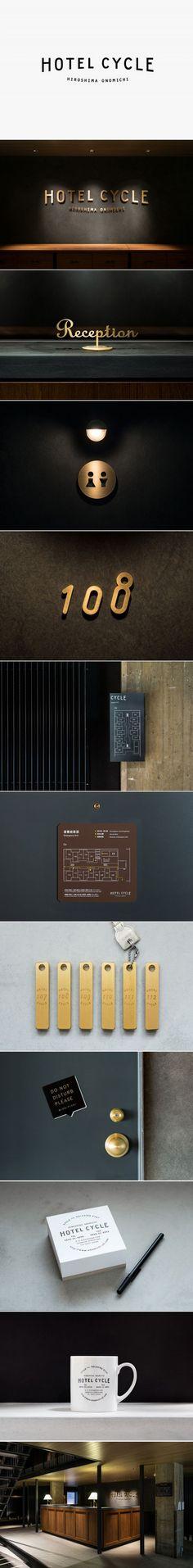 Logotype and interior signage designed by UMA for U2's Onomichi based Hotel Cycle