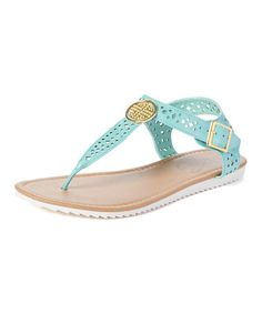 Another great find on #zulily! Teal Cutout Embellished T-Strap Sandal #zulilyfinds