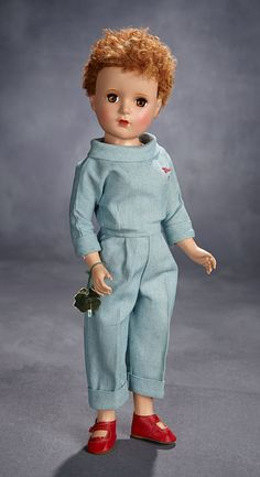 Lot: Mary Martin in Rare Blue Denim Costume, With Polka Dot Swim Suit, 1951 Old Dolls, Antique Dolls, Vintage Dolls, Vintage Stuff, Mary Martin, Vintage Madame Alexander Dolls, Blue Denim, Baby Dolls, Polka Dots
