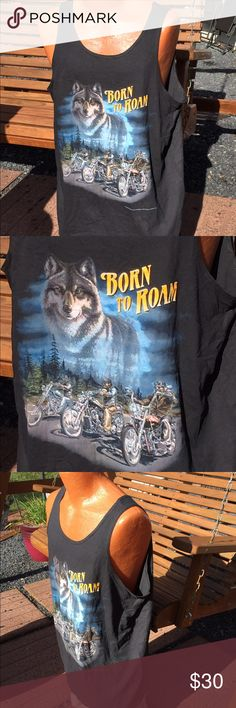 """Vintage NOS Biker """"Born to Roam"""" Motorcycle Tank New old stock from the 90s. Still has tags. size XXL. CMJ marketing on a delta tank top. Size XXL delta Shirts Tank Tops"""