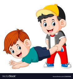 Boy are playing and some of them holding the legs vector image on VectorStock