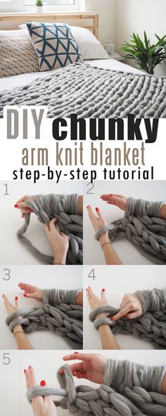 cómo hacer que el brazo de manta de punto grueso de bricolaje haga punto o * wie mache ich diy chunky knit blanket arm knit oder Knot Blanket, Make Blanket, Chunky Blanket, Giant Knit Blanket, Blanket Yarn, Arm Knitting Yarn, Easy Knitting, Knitting Patterns, Arm Knitting Tutorial