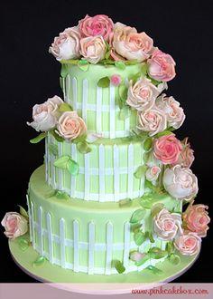 Cascading Garden Rose Wedding Cake by Pink Cake Box in Denville, NJ.  More photos at http://blog.pinkcakebox.com/garden-rose-wedding-cake-2-2010-09-02.htm  #cakes